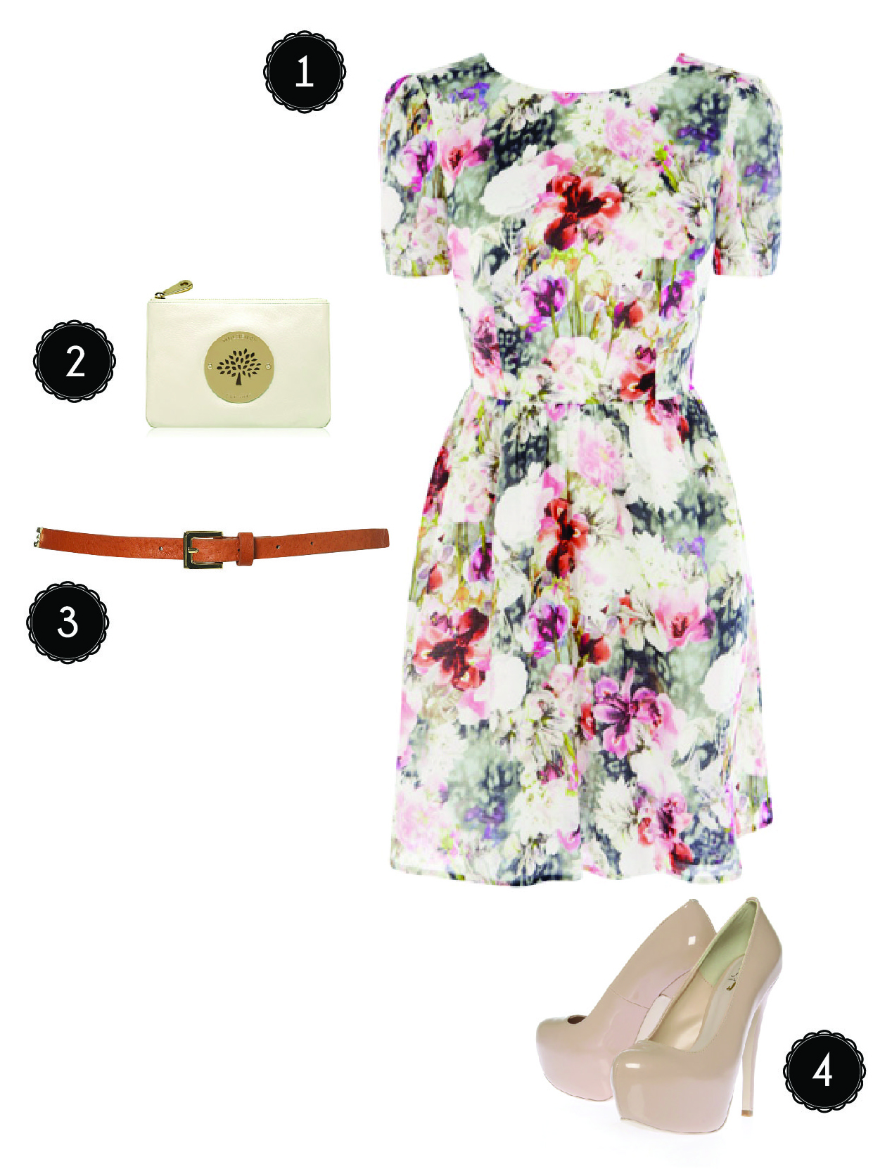 wedding outfit inspiration wedding outfits Photographic Floral Skater Dress from Oasis 2 Daria Pouch in Pear Sorbet from Mulberry 3 Double Snaffle Skinny Belt in tan from Topshop