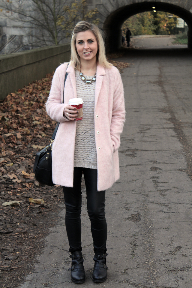 Pink Fluffy Coat Topshop   Down Coat