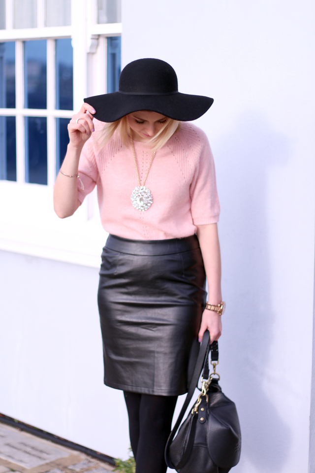 665d898514 Lavish Alice Leather Look Pencil Skirt (similar here) . . Office Boots . .  Topshop Necklace . . Mulberry Effie Satchel . . Topshop Floppy Hat